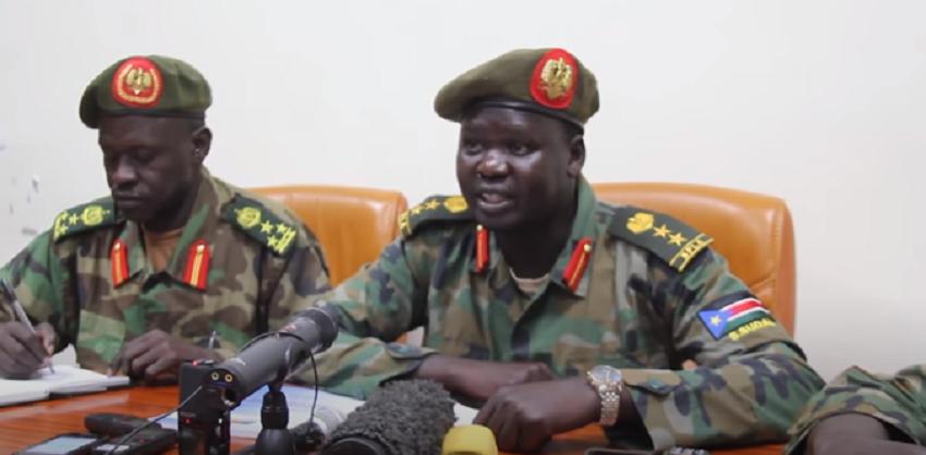 General Paul Malong-allied commander Dickson Gatluak Joak speaking to the press in Juba in May 2017 [Photo by Samir Bol]