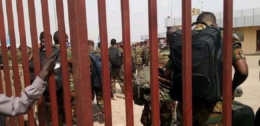 In this undated photo, Ethiopian troops were seen at Juba airport and it was not known where they were heading. [Photo via SSNN]