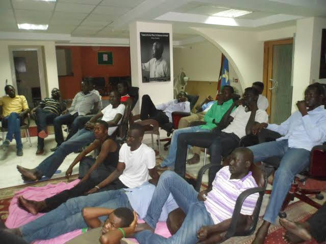 South Sudanese scholars occupy embassy in Cairo, protesting against unpaid stipends in 2013. [Photo via Eye Radio]