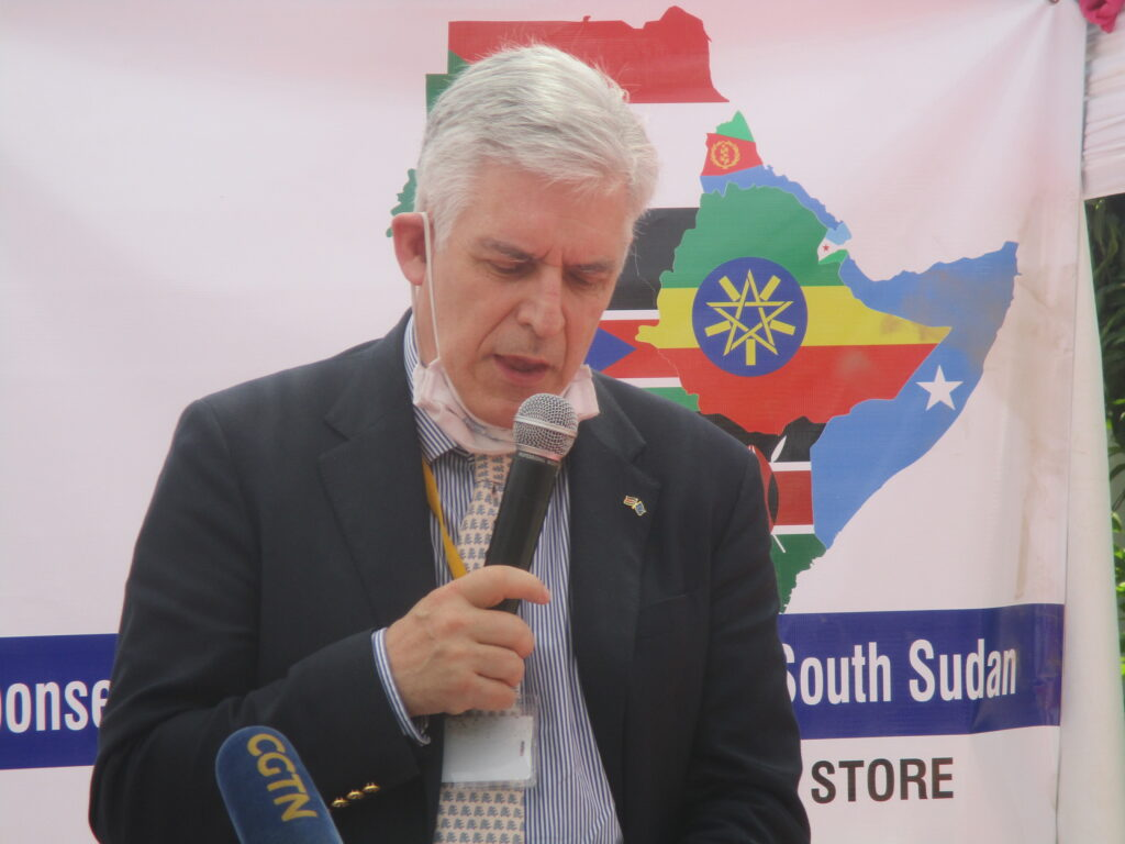Christian Bader, Head of Delegation of the European Union to South Sudan speaking during the handover of COVID-19 protective equipment at the Ministry of Health in Juba. [Photo by Sudans Post]