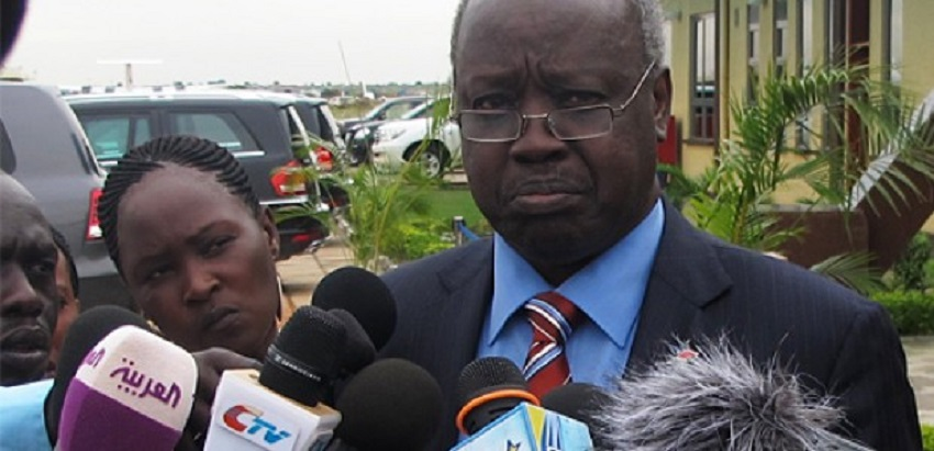 South Sudan's presidential affairs minister, Nhial Deng Nhial, speaks to the press in Juba on June 5, 2013 [Photo via The Niles]