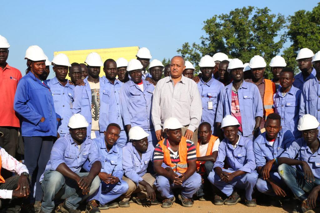 Wondimu Tenkir, JEDCO MD (center) with a team of JEDCO electricians. [Photo By Majak Kuany Alier]