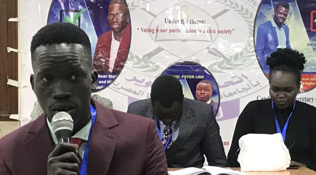 Newly elected Nuer Student's Union chairperson in Egypt Ketket Koang Mut Hoal speaking ahead of vote on Saturday, March 27, 2021 [Photo by Sudans Post]