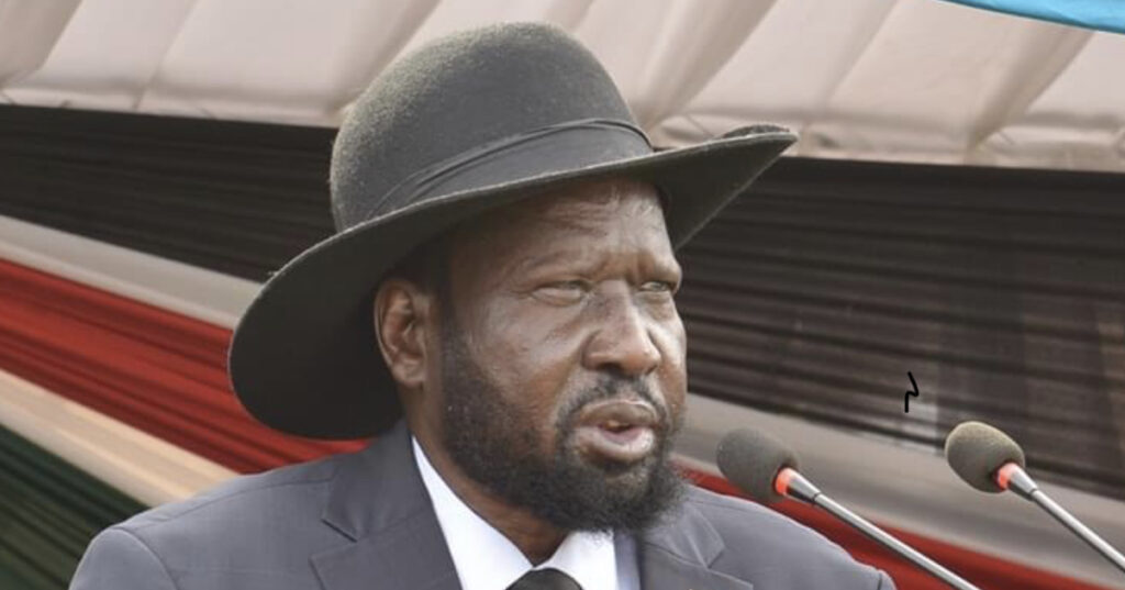 President Salva Kiir Mayardit rang the bell at Juba Day Secondary School to signal the start of the 2020 Certificate of Secondary Education Examinations [Photo by Presidency Press]