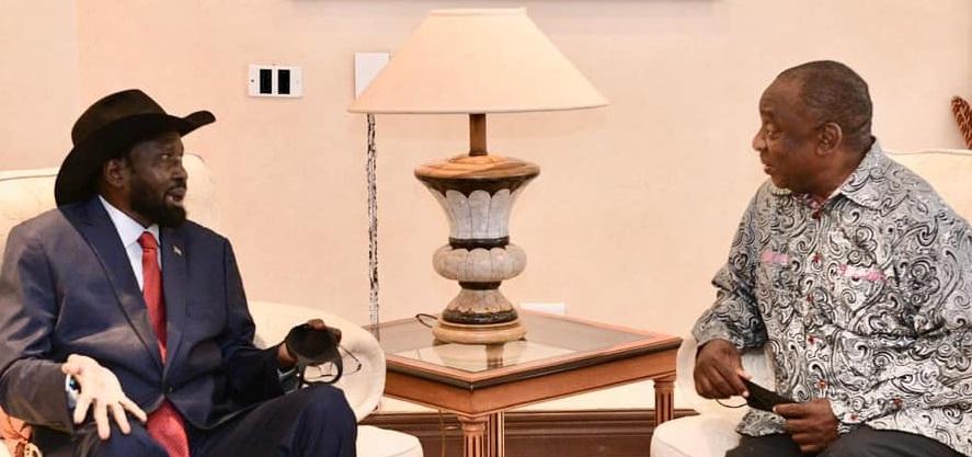 South Sudan President Salva Kiir Mayardit (left) meeting his S. African counterpart Cyril Ramaphosa in Pretoria [Photo by South African presidency]