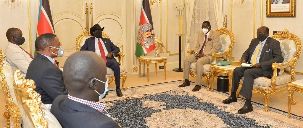 President Salva Kiir Mayardit meeting speaker of Kenyan parliament at his office in Juba on Tuesday [Photo by presidency]