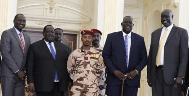 South Sudan delegation meeting head of Chat's military council in N'Djamena [Photo via Facebook]