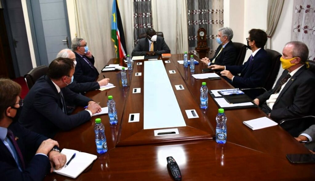 South Sudan First Vice President Dr. Riek Machar Teny meeting Troika and EU envoys [Photo by the FVP's office]