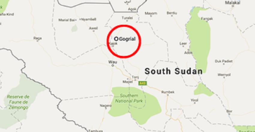 South Sudan map featuring Gogrial [File via Radio Tamazuj]