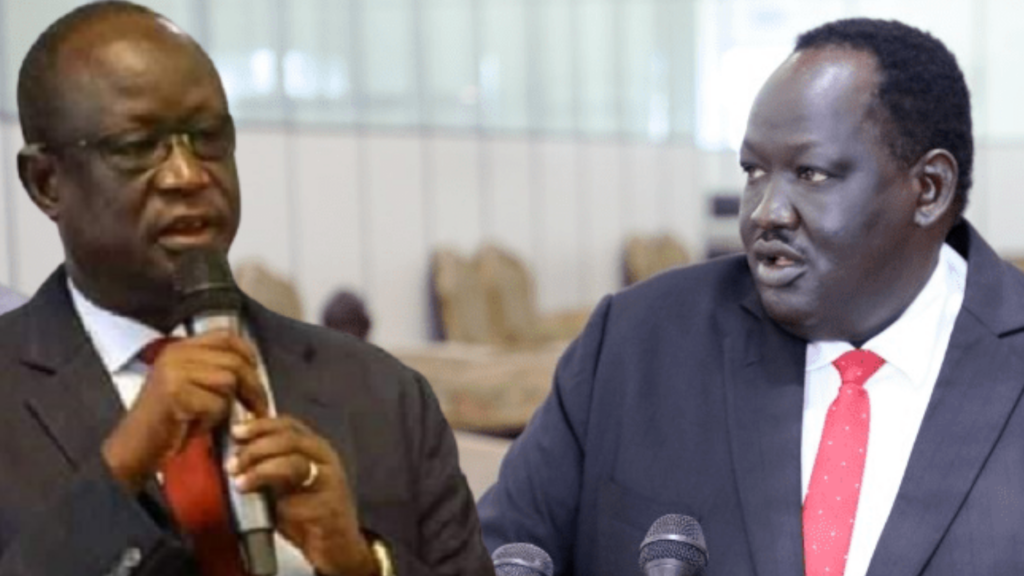 South Sudan national security chief General Akol Koor Kuc (left) and President Kiir's National Security Advisor Tut Gatluak Manime [Photo courtesy]
