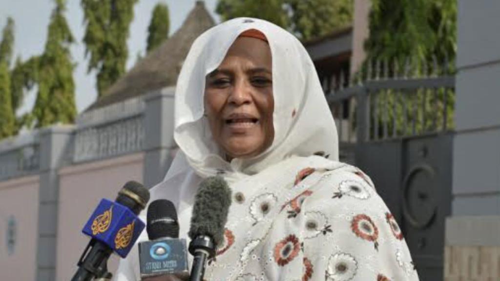 Sudanese foreign minister Mariam Sadig al Mahdi speaking to reporters in Juba [Photo via Eye Radio]