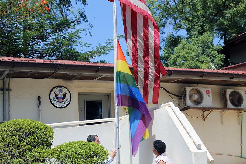 LGBTQ flag flying at the US embassy in Juba [Photo via US embassy Facebook Page]