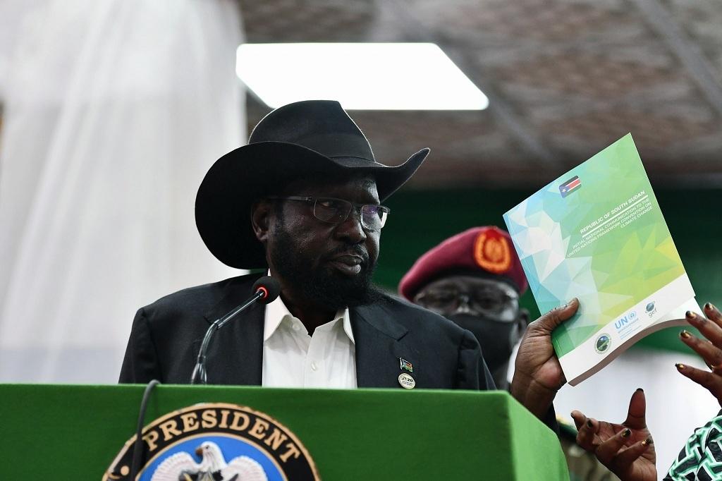 South Sudan President Salva Kiir Mayardit speaking during commemoration of the World Environmental Day in Juba on Thursday, June 17, 2021. [Photo by presidency]