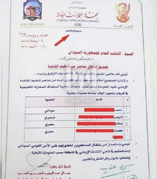 Letter of the Sudanese General Intelligence Service (GIS) asking the Sudanese attorney general to issue warrant of arrest against alleged members of Al Qaeda planning terrorist attack on gulf embassies across Africa [File via Facebook]