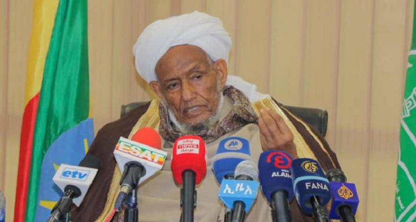 The head of the Ethiopian Federal Supreme Council for Islamic Affairs Sheikh Omar Idris speaking during a press conference in Addis Ababa on Thursday, June 17, 2021. [Photo by Ethiopian foreign ministry]