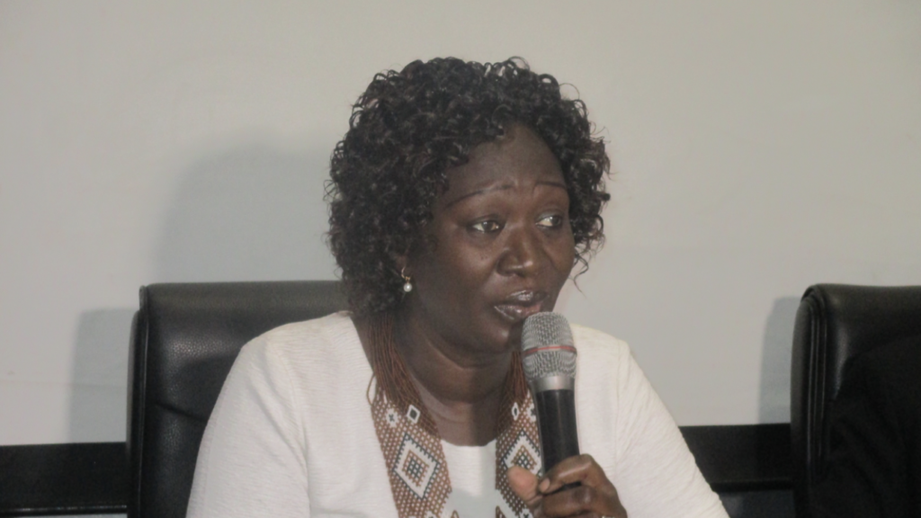 Awut Deng Achuil, South Sudan's Minister of General Education speaking at a workshop in Juba on 10 June 2021 [Photo by Sudans Post]