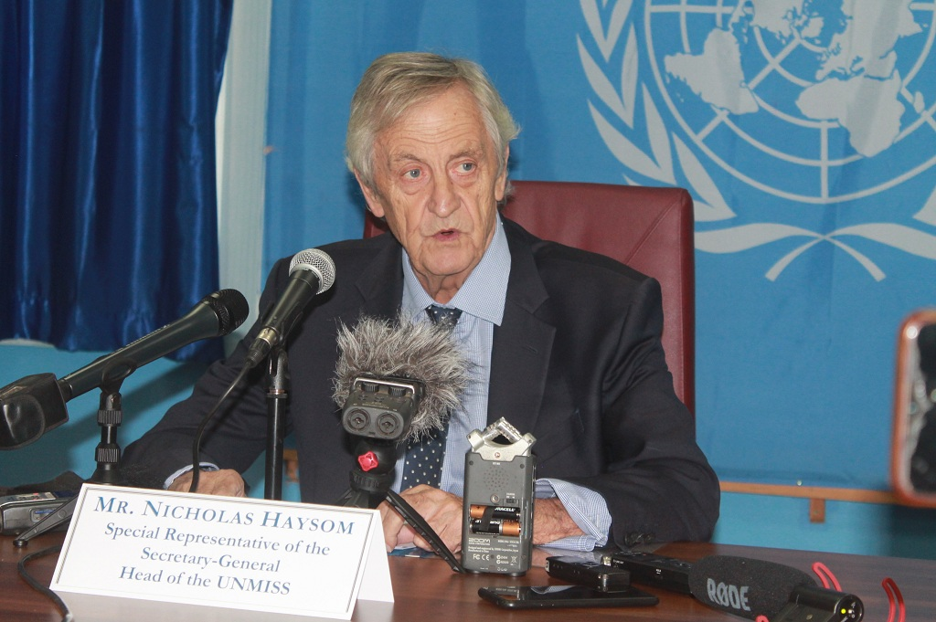 UN SRSG and Head of UNMISS Nicholas Haysom speaking to reporters during a press conference in Juba on Thursday, 3 June 2021. [Photo by Sudans Post]