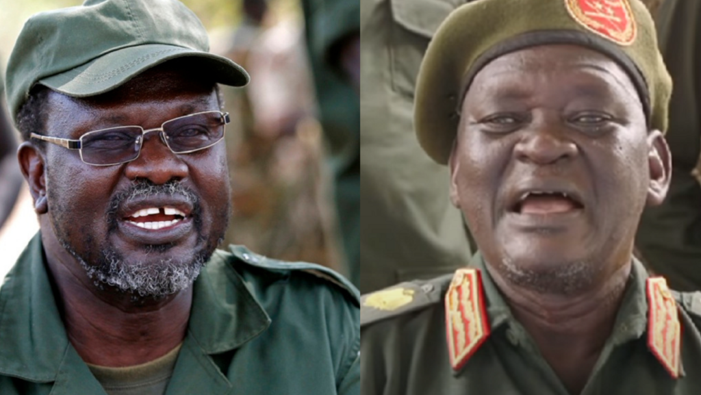 SPLM-IO Chairman and FVP Dr. Riek Machar Teny (Left) and his chief of staff General Simon Gatwech Dual. [Photo via NYT]