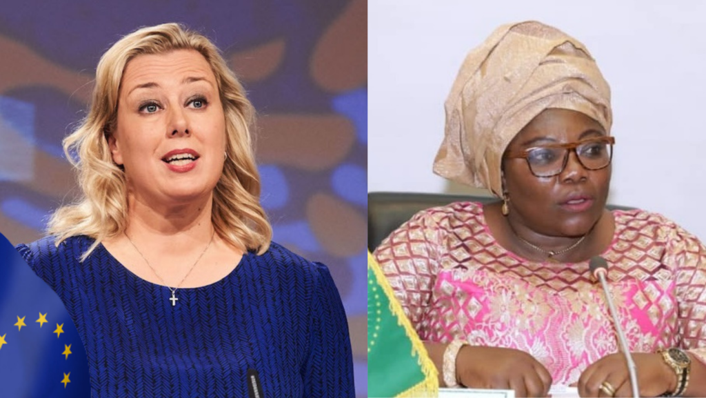 Jutta Urpilainen, EU Commissioner for International Partnerships (left) and Prof. Sarah Anyang Agbor, AU Commissioner for Education, Science, Technology and Innovation [Photos via Getty Images]