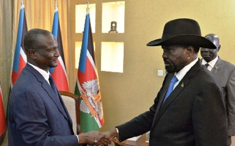 South Sudan Vice-President Taban Deng Gai (left) meeting President Salva Kiir Mayardit in Juba [Photo by presidency]