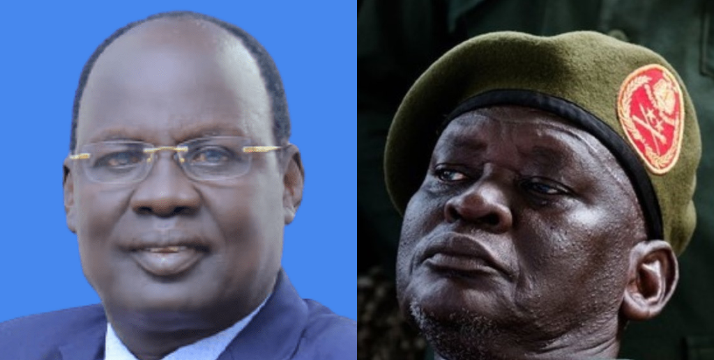 Former governor of the defunct opposition Sobat state Duer Tut Duer (left) and SPLA-IO military chief General Simon Gatwech Dual. [Photos via Facebook/Getty Images]