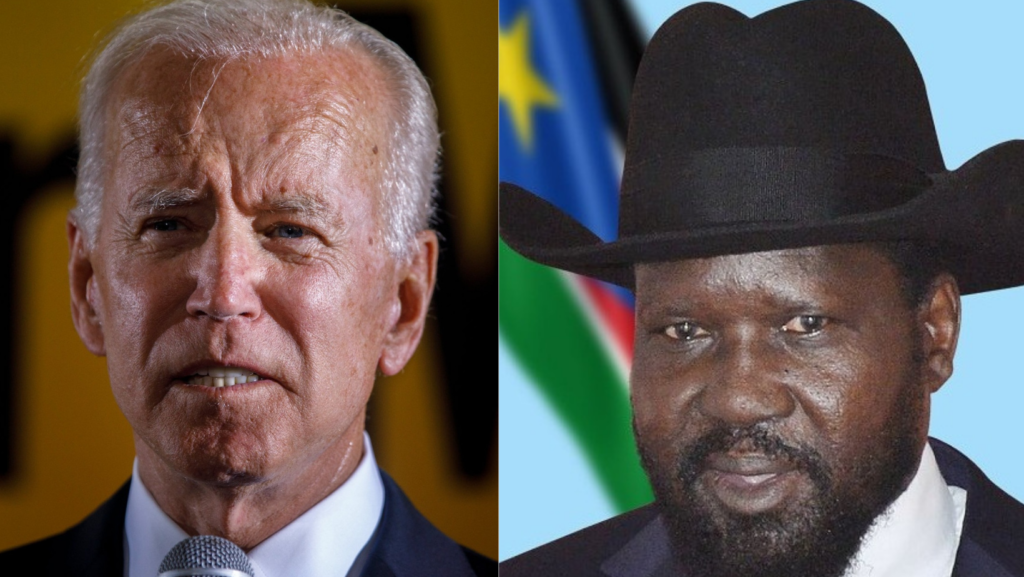 US President Joe Biden and South Sudan President Salva Kiir Mayardit. [Photos via Getty Images]