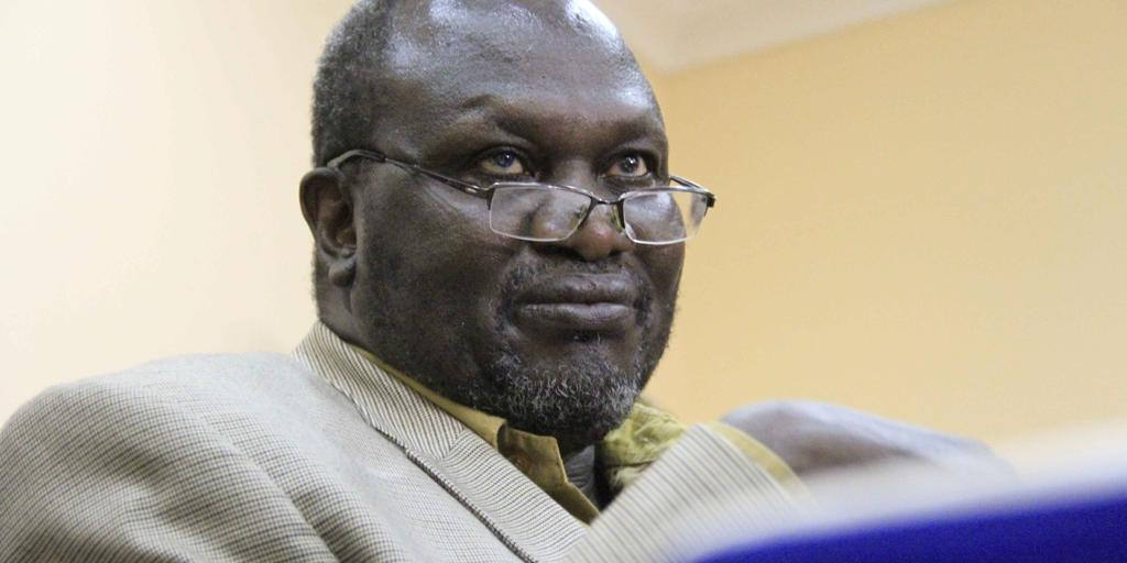 South Sudan's then newly removed FVP Dr. Riek Machar Teny speaks during a meeting of the SPLM-IO political bureau in Khartoum, Sudan. [Photo by SUNA]