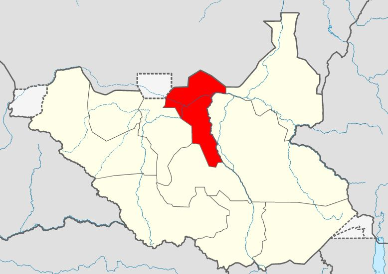South Sudan map featuring Unity state map [Photo via Wikipedia]