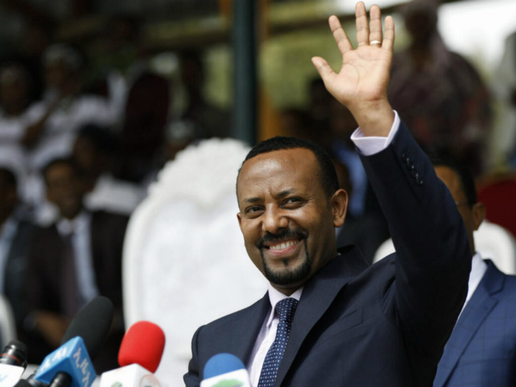 Ethiopian Prime Minister Abiy Ahmed at a political rally on April 11. [Zacharias Abubeker/AFP]