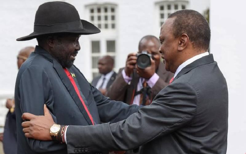 President Uhuru Kenyatta with the President of South Sudan Salva Kiir at State House, Nairobi. [Photo via The Standards]