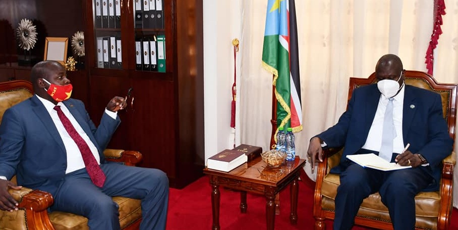 Deputy governor of Upper Nile state Tot Monybuny meeting FVP Dr. Riek Machar in Juba on Thursday, July 29, 2021. [Photo by FVP's office]