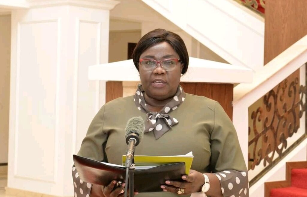 South Sudan's Minister of Foreign Affairs and International Cooperation Beatrice Khamisa Wani speaking to SSBC at the presidential palace J1. [Photo via Facebook]