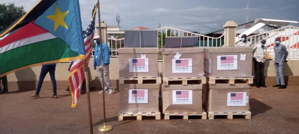 US vaccine after arrival at Juba Airport. [Photo by Eye Radio]