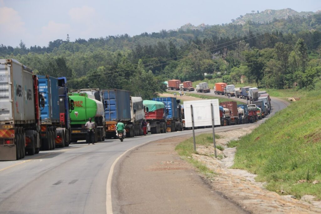Long distance trucks line up along the Amagoro-Malaba Highway as they wait to cross the border to Uganda [Photo by Emojong Osere/The Star]